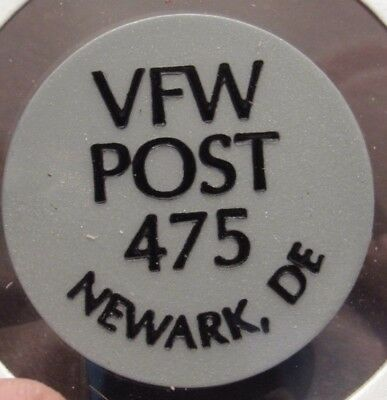 Vintage VFW Post #475 Newark, DE Gray Plastic Trade Token - Delaware
