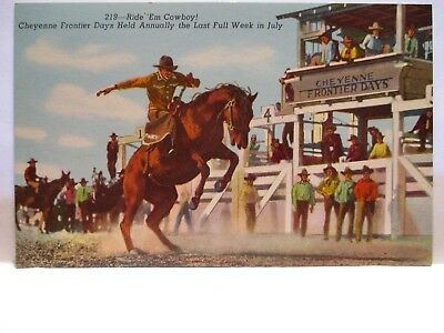 "1940 Postcard "" Ride Em' Cowboy ! Cheyenne Frontier Days Rodeo Cowboys Pen Bio"