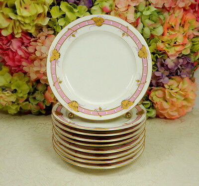 9 Beautiful Antique Old Paris French Porcelain Plates ~ Pink Bands ~ Gold