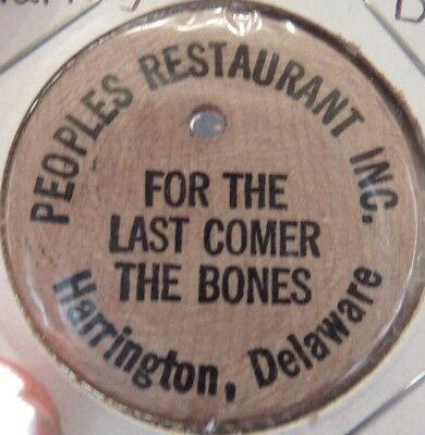 Vintage Peoples Restaurant Harrington, DE Wooden Nickel - Token Delaware