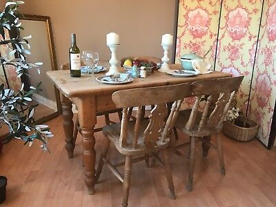 Pine Kitchen Dining Table and 4 Chairs Rustic Chunky Farmhouse Country NG23