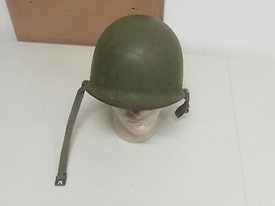 WWII US Army M-1 hat front seam swivel bale. Shell has late war chinstrap and