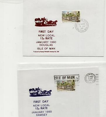 Isle of Man 1990 Pair of New 15p Postage Rate covers, Douglas and Ramsey