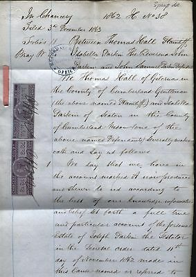 1862; 2/3d & 1/- CHANCERY COURT REVENUE stamps on 3 page document HALL V PARKIN
