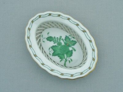 Herend Porcelain Hungary Chinese Bouquet Green Small Oval Basket
