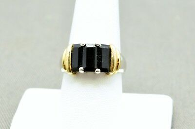 Sterling Silver Beautiful Onyx With Gold Tone Sides Ring 8.5#fmy094