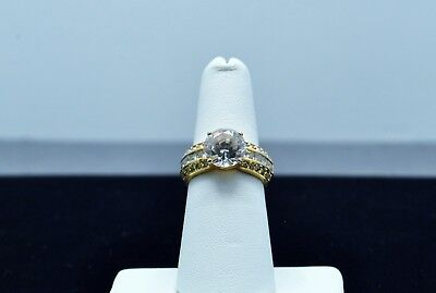 Sterling Silver Beautiful Gold Toned Band W/ Cz And Cz Accents Ring 6.5#fmy292