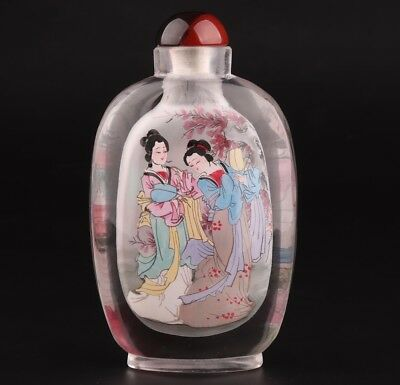 Precious Chinese Glass Snuff Bottle Hand-Painted Beauty Decoration Gift Collec