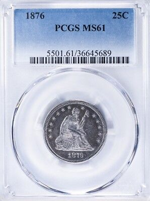 1876 Seated Liberty Quarter PCGS MS61 PL Surfaces
