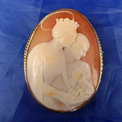 Stunning Antique 9Ct Gold Carved Shell Cameo Brooch Queen With Crown & Maid With