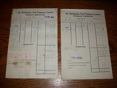 2 Miners - Coal Mining Pay Slips: 1929 + 1931: Tibshelf Collieries, Derbyshire.
