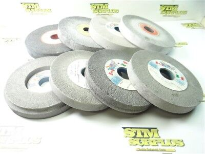 """8 New & Used Assorted Grinding Wheels 6-1/8"""" To 7"""" Dia. 1"""" Widths Norton Radiac"""