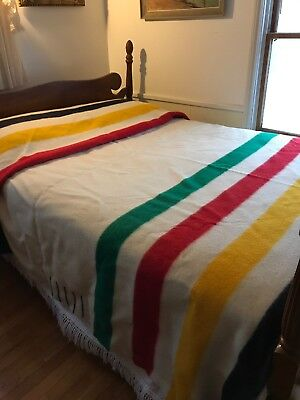 "Vintage HUDSON'S BAY 100% Wool 6 POINT BLANKET England 90""W X 98""L King Size"