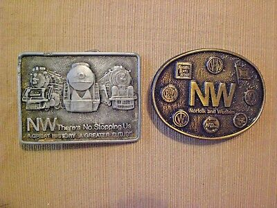 Two Norfolk and Western Railroad belt buckles.