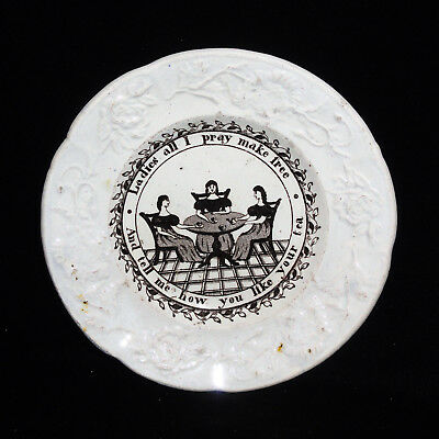 Rare Historical Staffordshire Childs Toy Plate ~ Womens Suffrage 1870 Ladies Tea