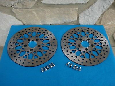 "11.8""  Satin Mesh Front Brake Rotor Pair For Harley Flt Bagger With Free Bolts"