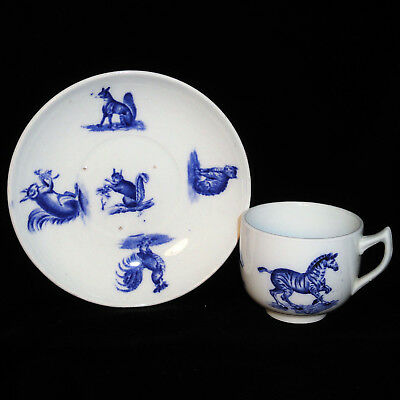 Copeland Animals Childs Toy Cup & Saucer Flow Blue CAT SQUIRREL Critters 1895
