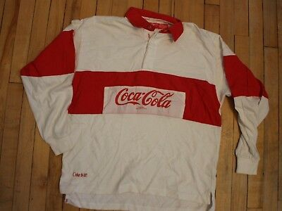 Vintage 1980's COCA COLA RUGBY POLO SHIRT Red White Long sleeve Size Large Coke