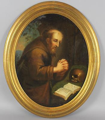 19thC Antique Religious Oil Painting, Saint Francis Assisi Praying w/ Skull, NR
