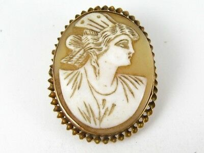 Antique Victorian 10k Yellow Gold Natural Cameo Ladies Pin Brooch 7.0g