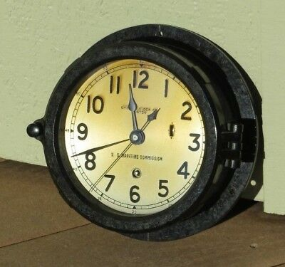 WWII US Maritime Commission Chelsea Ships Sea Bakelite Clock