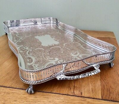 """Quality 22"""" Twin Handled Silver On Copper Footed Serpentine Gallery Tray C1920"""