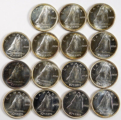 1950 Canada 10 Cent Silver Proof-Like Lot - 15 Coins Total