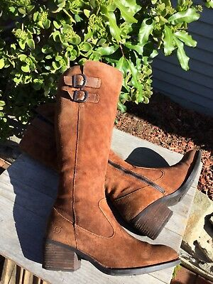 205c29f8df4 Born Basil Rust Distressed Suede Knee-high Riding Boots Women Sz 8 M