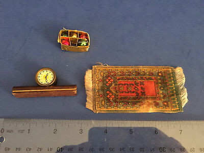 Antique doll house miniatures: rug, wooden clock, German glass Xmas bulbs in box