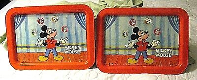 Pair of - 2 Vintage 1960s Walt Disney Mickey Mouse Metal Folding TV Dinner Trays