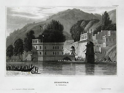 1840 Haridwar Hurduwar East India Indien Ansicht Stahlstich view antique print