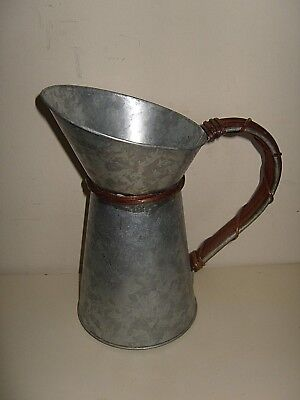 French Vintage Style Galvanised Metal Jug Pitcher Vase Wicker Shabby Chic 8.5""
