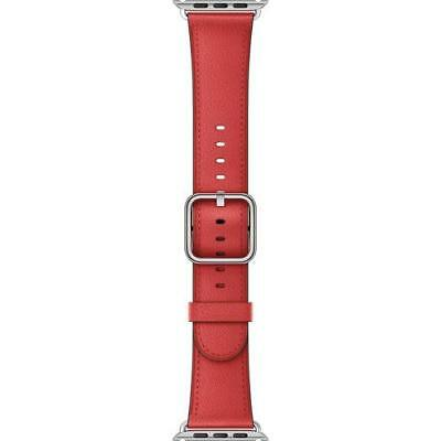 Authentic Apple Watch Band 42-in Red Leather Classic Buckle Genuine NEW, SEALED