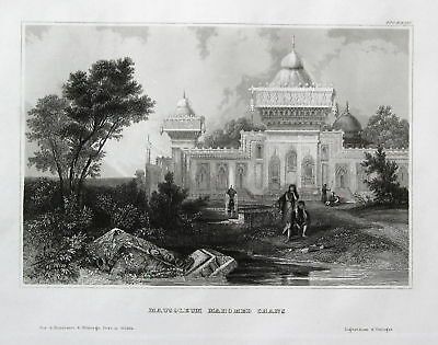 ca. 1850 Mausoleum Mahomed Chans India Indien Ansicht view Stahlstich engraving