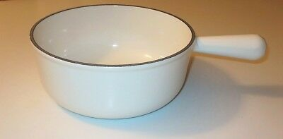 Vtg Cousances Sauce Pot Pan #22 Made In France White Cast Iron Enamel Le Creuset