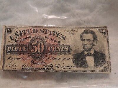 1863 50 cent Fractional Currency Lincoln Red Seal Circulated