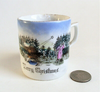 Antique CHILD Victorian MERRY CHRISTMAS ANGEL Scene Painted Porcelain CUP MUG