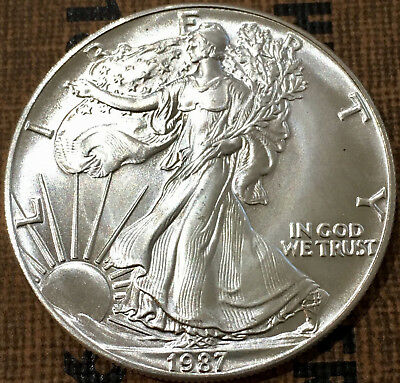 1987  $1 US Silver American Eagle Coin 1 Troy Ounce .999 Fine Silver  USA