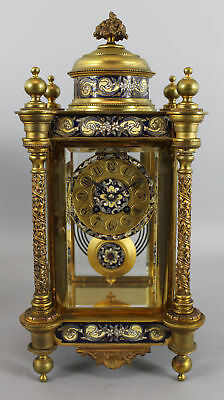 Antique French Gilt Brass & Champleve Enamel Crystal Regulator Mantel Clock, NR