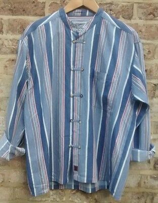 Vtg COTTON STRIPED ORIENTAL STYLE LOOSE RELAXED GRANDAD SHIRT CHEST 46'' L XL