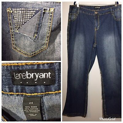 LANE BRYANT Women Size 24 Contrast Stitch Embellished Pocket Boot Cut Jeans
