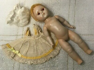 1950 Vogue Ginny, Transitional Strung Doll, Pale Coloring, Red Eyes, TLC