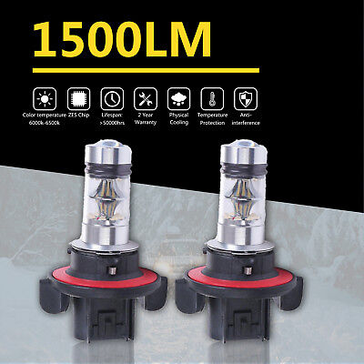 2x White 9008 H13 LED Fog Driving Projector Bulbs 6000K 3000LM 200W Replace HID
