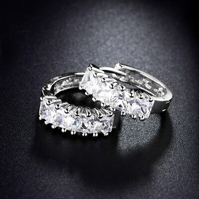 White Gold Filled Princess Sapphire Crystal Women Hoop Earrings Exquisite Gift
