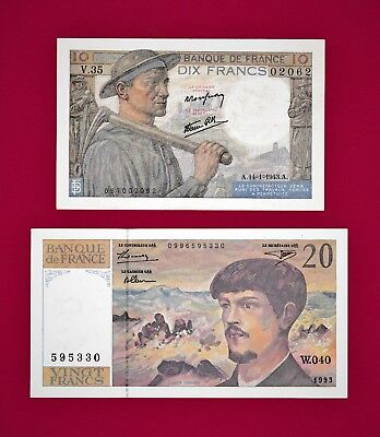 2 RARE French Notes: 10 Francs 1943 (P-99) (XF+) & 20 Francs 1993 (P-151) (AUnc)