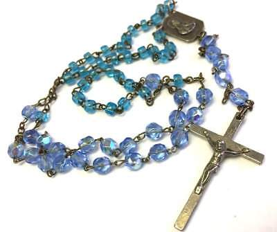 Old Vtg ANTIQUE Necklace Art Deco or Victorian Glass Bead Rosary Crucifix lot i