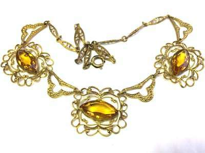 Old Vtg ANTIQUE Necklace Art Deco or Victorian Orange Rhinestone Jewelry lot i