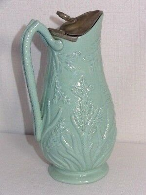 Antique Beech And Hancock Tunstall Coral Syrup Jug Pewter Top Lid