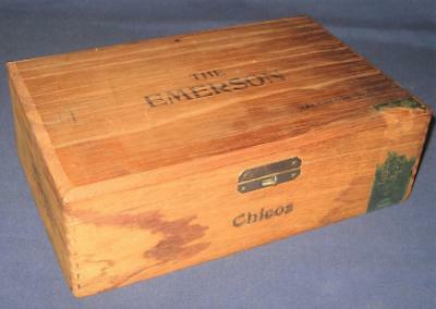 "Vintage ""the Emerson"" Hotel Brand Wooden Cigar Box Baltimore Md"