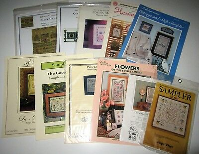 Lot of 11 Vintage SAMPLER Counted X Stitch Leaflets and Chart packs